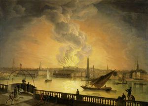 Thomas Luny - The Burning Of Drury Lane Theatre From Westminster Bridge, London