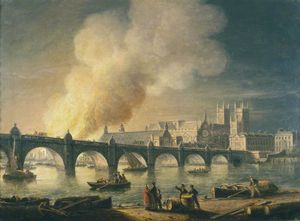 Thomas Luny - Westminster Bridge And The Burning Of The Houses Of Parliament From Lambeth, London