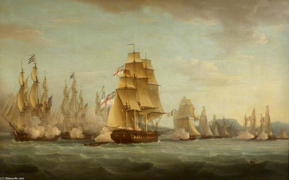 Hms `spartan` And French Frigates by Thomas Whitcombe (1763-1824, United Kingdom) | Museum Quality Reproductions | WahooArt.com