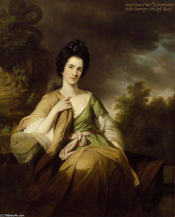 Mrs Drewry Ottley by Tilly Kettle (1735-1786, United Kingdom) | Painting Copy | WahooArt.com