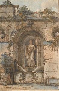 Victor Jean Nicolle - View An Ancient Statue Fountain With A Draped Woman In A Niche