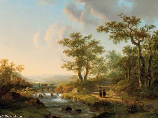 Order Reproductions | Along The River In An Undulating Summer Landscape by Willem De Klerk (1755-1837, Netherlands) | WahooArt.com