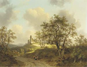 Willem De Klerk - Figures Resting On A Country Road In A Wooded Landscape