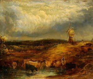 William Alfred Delamotte - Cattle And A Windmill