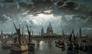 William Anderson - London Bridge And St Paul-s By Moonlight