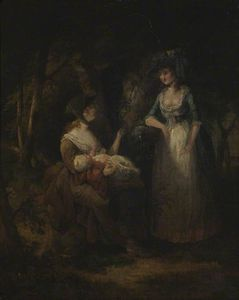 William Hamilton - Two Women With A Baby Conversing In A Wood