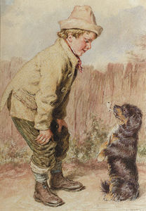 William Henry Hunt - A Boy With A Begging Dog