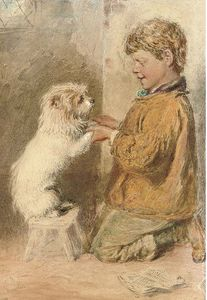 William Henry Hunt - A Study Of A Boy With A Dog