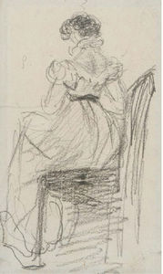 William Henry Hunt - A Young Lady, Seated On A Chair, Seen From The Back