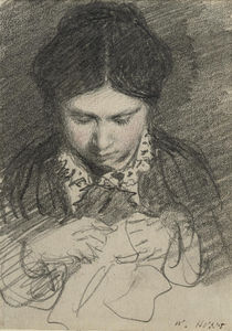 William Henry Hunt - A Young Woman Sewing