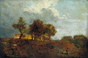 William Henry Hunt - Landscape With Elm Trees And A Farm, Near Bayswater