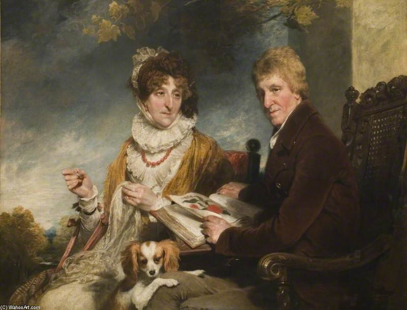 Portrait Of A Man And A Woman by William Owen (1769-1825, United Kingdom) | Famous Paintings Reproductions | WahooArt.com