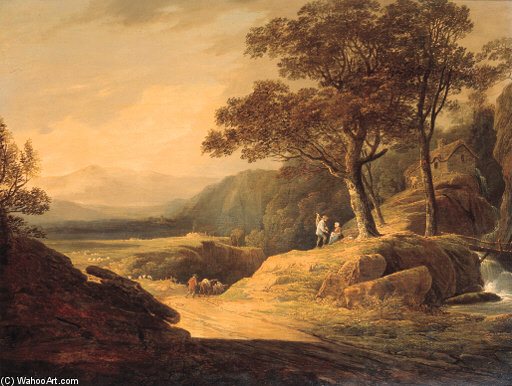 A Cowherd And Cattle On A Track In A Mountainous Landscape by William Payne (1760-1830, United Kingdom) | Famous Paintings Reproductions | WahooArt.com