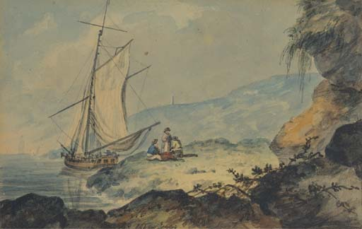 A Gaff-rigged Cutter In A Coastal Inlet, Devon by William Payne (1760-1830, United Kingdom) | Painting Copy | WahooArt.com