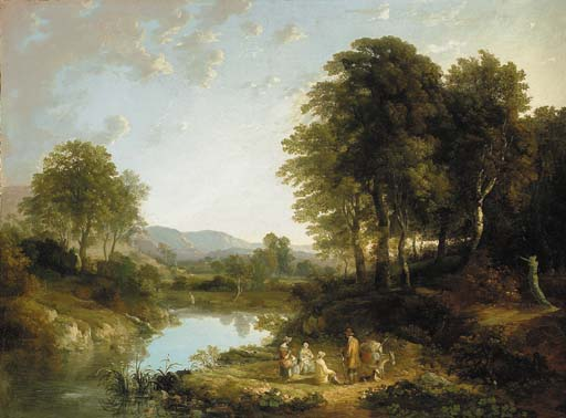 A Wooded River Landscape With Figures In The Foreground, Traditionally Identified As 'on The Teign' by William Payne (1760-1830, United Kingdom)