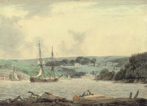 Belle Vue From The Passage At Cap Down, River Tamar, Cornwall by William Payne (1760-1830, United Kingdom)