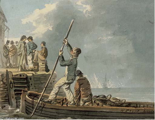 Casting Off From The Quay by William Payne (1760-1830, United Kingdom)