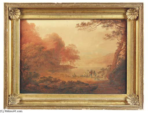 Fisherfolk On The Banks Of The Tamar by William Payne (1760-1830, United Kingdom) | Oil Painting | WahooArt.com