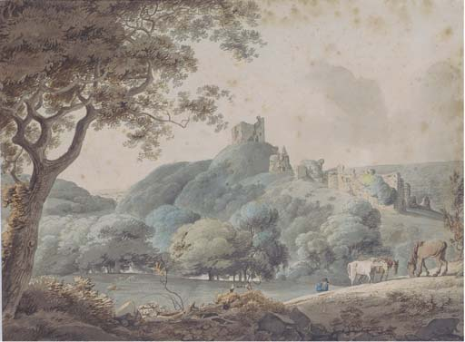 Horses Grazing In A Rural Landscape With Castle Ruins Beyond by William Payne (1760-1830, United Kingdom)