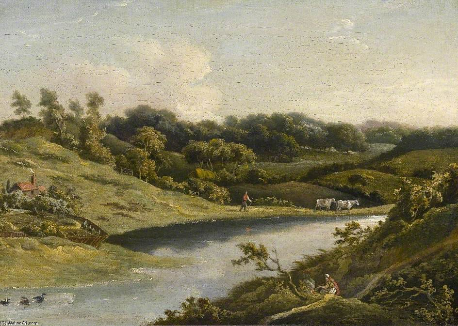 River In Devon by William Payne (1760-1830, United Kingdom) | Oil Painting | WahooArt.com