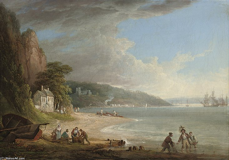 Order Famous Paintings Reproductions : Shipping Lying On The Tamar Before Pentillie Castle by William Payne (1760-1830, United Kingdom) | WahooArt.com