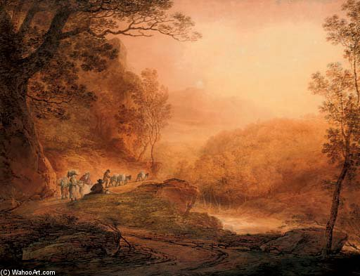 Travellers Gossiping At The Wayside by William Payne (1760-1830, United Kingdom)
