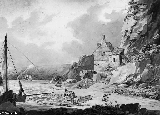 View From Stonehouse Bridge, Plymouth by William Payne (1760-1830, United Kingdom)