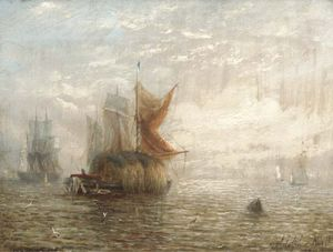 Adolphus Knell - Hay Barges And Other Shipping On The Estuary