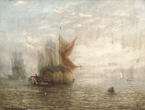 Hay Barges And Other Shipping On The Estuary by Adolphus Knell (1801-1875, United Kingdom)