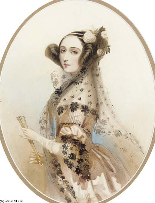 Ada, Countess Of Lovelace by Alfred Edward Chalon (1780-1860, Switzerland) | Museum Quality Reproductions | WahooArt.com