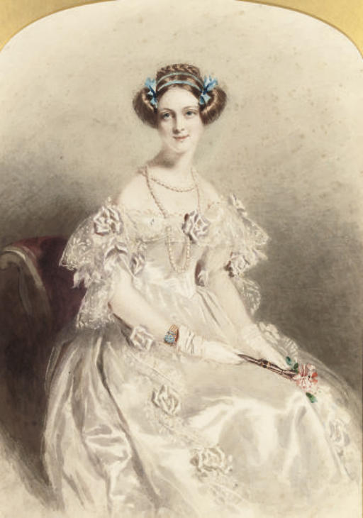 Portrait Of A Lady, Three-quarter-length, Dressed For A Ball by Alfred Edward Chalon (1780-1860, Switzerland)