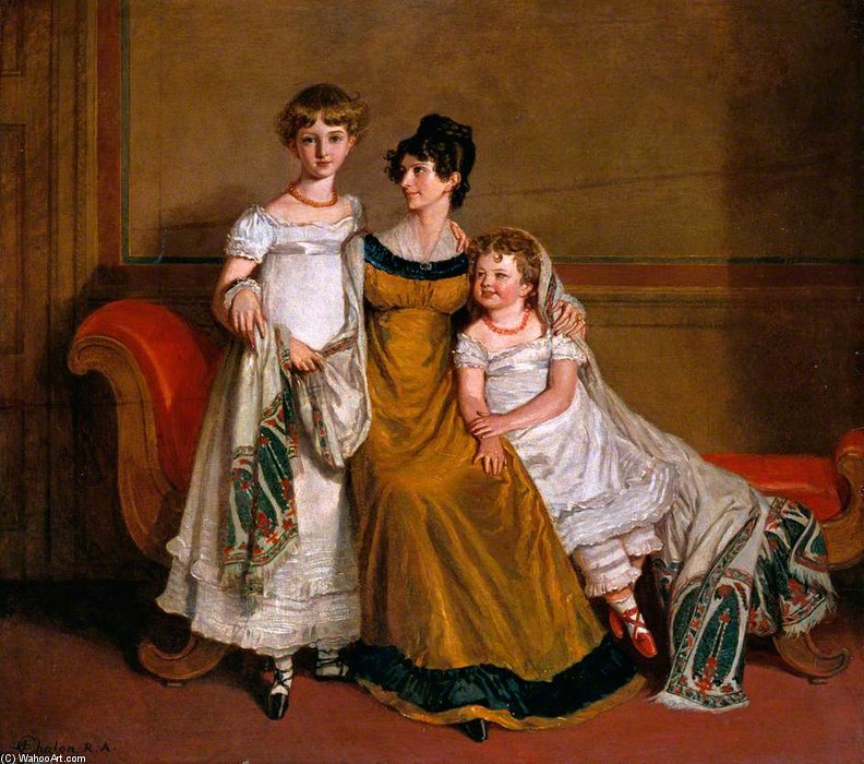 Portrait Of A Woman With Two Children In A Domestic Interior by Alfred Edward Chalon (1780-1860, Switzerland) | Painting Copy | WahooArt.com