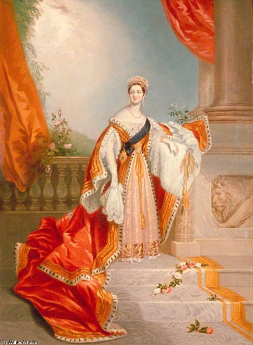 Queen Victoria by Alfred Edward Chalon (1780-1860, Switzerland) | Oil Painting | WahooArt.com