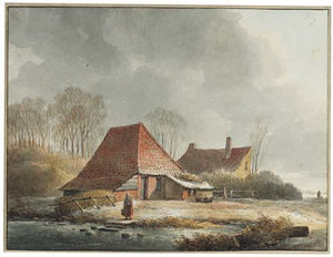 Andreas Schelfhout - A Farm With A Woman By A Frozen Pond In Winter