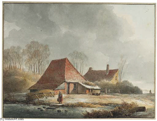 A Farm With A Woman By A Frozen Pond In Winter by Andreas Schelfhout (1787-1870, Netherlands) | WahooArt.com