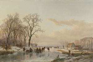 Andreas Schelfhout - A Frozen Canal In The Meuse