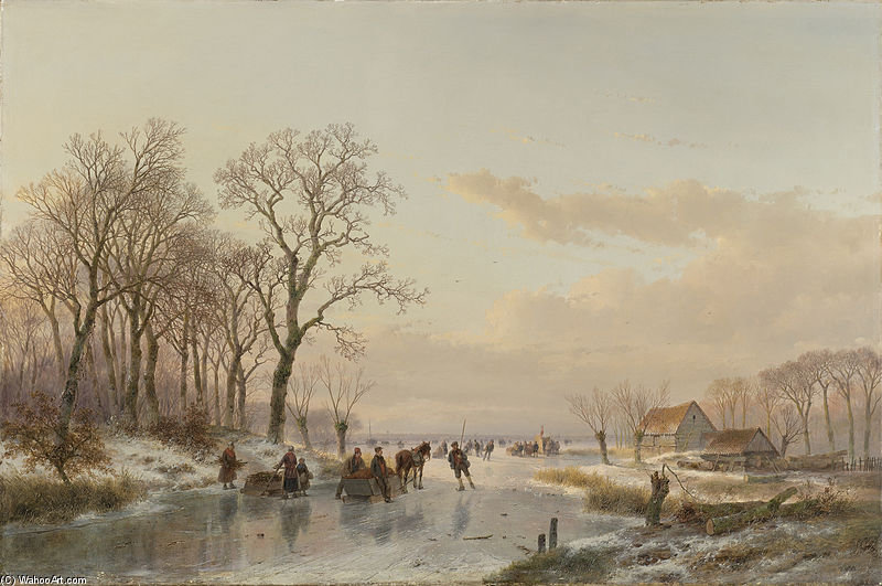 A Frozen Canal In The Meuse by Andreas Schelfhout (1787-1870, Netherlands)