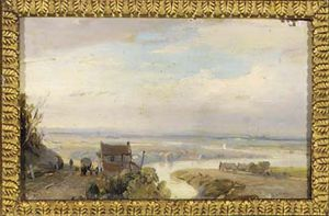Andreas Schelfhout - A Panoramic River Landscape In Summer