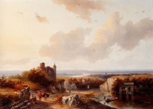 Order Museum Quality Reproductions : A Panoramic River Landscape by Andreas Schelfhout (1787-1870, Netherlands) | WahooArt.com