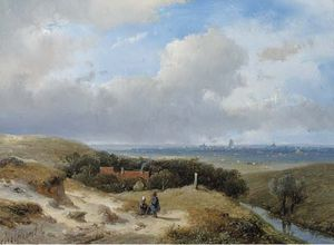 Andreas Schelfhout - A Panoramic Summer Landscape With Travellers Resting In The Dunes