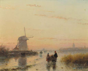 Andreas Schelfhout - A River Landscape In Winter At Dusk