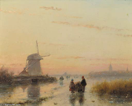 A River Landscape In Winter At Dusk by Andreas Schelfhout (1787-1870, Netherlands) | Reproductions Andreas Schelfhout | WahooArt.com