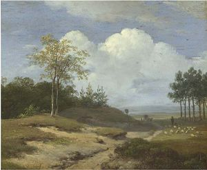 Andreas Schelfhout - A Summer Landscape With A Shepherd And His Flock