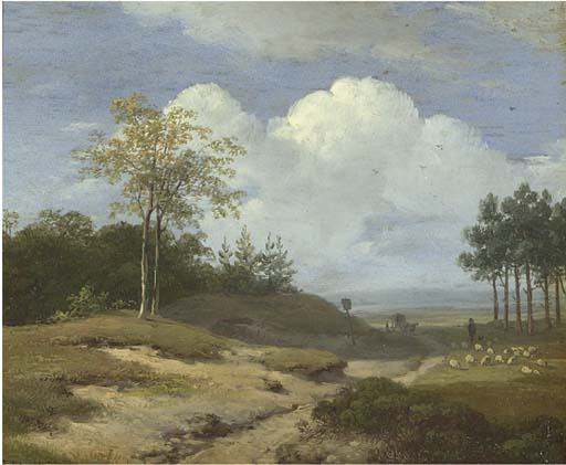 A Summer Landscape With A Shepherd And His Flock by Andreas Schelfhout (1787-1870, Netherlands)