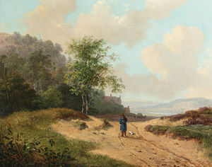 Andreas Schelfhout - A Summer Landscape With A Traveller And Dog On A Sandy Track