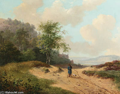 A Summer Landscape With A Traveller And Dog On A Sandy Track by Andreas Schelfhout (1787-1870, Netherlands) | Museum Quality Reproductions | WahooArt.com