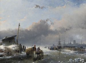 Andreas Schelfhout - A View Of Dordrecht In Winter