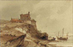 Andreas Schelfhout - A Village With A Church On A Rocky Coast, Fishermen On The Beach Nearby