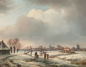 Andreas Schelfhout - A Winter Landscape With Peasants Skating By A Wooden Bridge