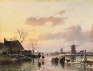 Andreas Schelfhout - A Winter Landscape With Windmills On The Horizon